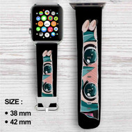 Hatsune Miku Face Custom Apple Watch Band Leather Strap Wrist Band Replacement 38mm 42mm