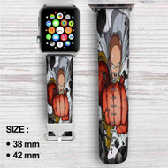 One Punch Man Saitama Sensei Power Custom Apple Watch Band Leather Strap Wrist Band Replacement 38mm 42mm