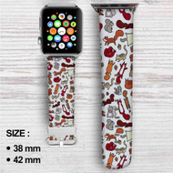 Squirrels in Fall Custom Apple Watch Band Leather Strap Wrist Band Replacement 38mm 42mm