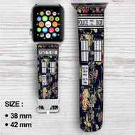 Tardis Police Box Floral Custom Apple Watch Band Leather Strap Wrist Band Replacement 38mm 42mm