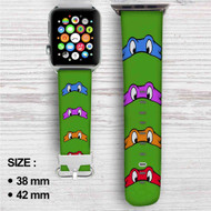Teenage Mutant Ninja Turtles Mask Custom Apple Watch Band Leather Strap Wrist Band Replacement 38mm 42mm
