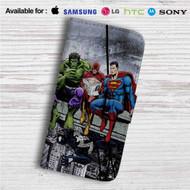 Hulk The Flash Superman Venom Breakfast Custom Leather Wallet iPhone 4/4S 5S/C 6/6S Plus 7  Samsung Galaxy S4 S5 S6 S7 Note 3 4 5  LG G2 G3 G4  Motorola Moto X X2 Nexus 6  Sony Z3 Z4 Mini  HTC ONE X M7 M8 M9 Case