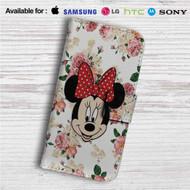 Minnie Mouse Floral Vintage Custom Leather Wallet iPhone 4/4S 5S/C 6/6S Plus 7| Samsung Galaxy S4 S5 S6 S7 Note 3 4 5| LG G2 G3 G4| Motorola Moto X X2 Nexus 6| Sony Z3 Z4 Mini| HTC ONE X M7 M8 M9 Case