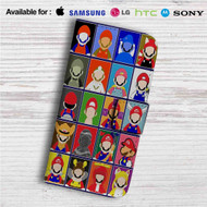 Super Mario No Face Custom Leather Wallet iPhone 4/4S 5S/C 6/6S Plus 7| Samsung Galaxy S4 S5 S6 S7 Note 3 4 5| LG G2 G3 G4| Motorola Moto X X2 Nexus 6| Sony Z3 Z4 Mini| HTC ONE X M7 M8 M9 Case