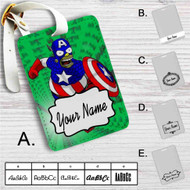 Bart Simpson Captain America Custom Leather Luggage Tag