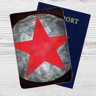 Bucky Barnes Red Star on Steel Custom Leather Passport Wallet Case Cover