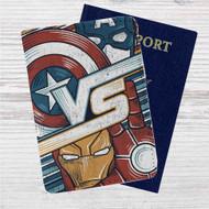 Captain America Vs Iron Man Custom Leather Passport Wallet Case Cover