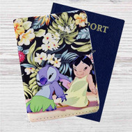 Disney Lilo and Stitch Dancing Custom Leather Passport Wallet Case Cover