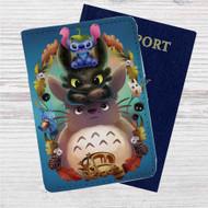 Disney Stitch Toothless Totoro Studio Ghibli Custom Leather Passport Wallet Case Cover