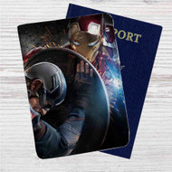 Iron Man vs Captain Captain America Civil War Custom Leather Passport Wallet Case Cover
