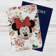 Minnie Mouse Floral Vintage Custom Leather Passport Wallet Case Cover