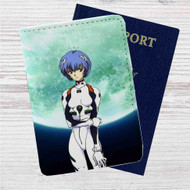 Neon Genesis Evangelion Rei Ayanami Custom Leather Passport Wallet Case Cover