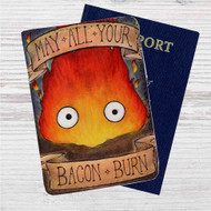 Studio Ghibli Calcifer Custom Leather Passport Wallet Case Cover