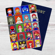 Super Mario No Face Custom Leather Passport Wallet Case Cover