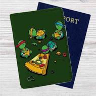 Teenage Mutant Ninja Turtles Pizza Time Custom Leather Passport Wallet Case Cover