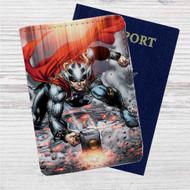 Thor Mjolnir Comic Custom Leather Passport Wallet Case Cover