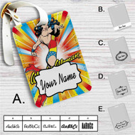 Wonder Woman Coloful Custom Leather Luggage Tag