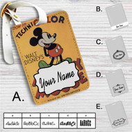 Disney Mickey Mouse Technicolor Custom Leather Luggage Tag