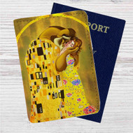 Disney Beauty And The Beast Gustav Klimt Custom Leather Passport Wallet Case Cover