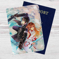 Kirito and Asuna Sword Art Online Custom Leather Passport Wallet Case Cover