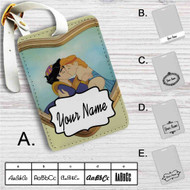 Aladdin and Hercules Love Kiss Custom Leather Luggage Tag