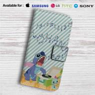Disney Lilo & Stitch Sing Custom Leather Wallet iPhone 4/4S 5S/C 6/6S Plus 7  Samsung Galaxy S4 S5 S6 S7 Note 3 4 5  LG G2 G3 G4  Motorola Moto X X2 Nexus 6  Sony Z3 Z4 Mini  HTC ONE X M7 M8 M9 Case