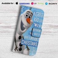 Olaf Frozen Quotes Custom Leather Wallet iPhone 4/4S 5S/C 6/6S Plus 7| Samsung Galaxy S4 S5 S6 S7 Note 3 4 5| LG G2 G3 G4| Motorola Moto X X2 Nexus 6| Sony Z3 Z4 Mini| HTC ONE X M7 M8 M9 Case