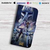 Star Wars The Clone Wars Custom Leather Wallet iPhone 4/4S 5S/C 6/6S Plus 7  Samsung Galaxy S4 S5 S6 S7 Note 3 4 5  LG G2 G3 G4  Motorola Moto X X2 Nexus 6  Sony Z3 Z4 Mini  HTC ONE X M7 M8 M9 Case
