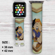 Aladdin and Hercules Love Kiss Custom Apple Watch Band Leather Strap Wrist Band Replacement 38mm 42mm