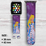 Alice in Wonderland With Flowers Custom Apple Watch Band Leather Strap Wrist Band Replacement 38mm 42mm