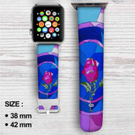 Rose Beauty and The Beast Custom Apple Watch Band Leather Strap Wrist Band Replacement 38mm 42mm