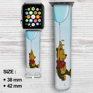 Winnie The Pooh Flying With Balloon Custom Apple Watch Band Leather Strap Wrist Band Replacement 38mm 42mm