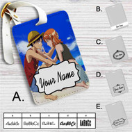 Monkey D Luffy and Nami One Piece Love Custom Leather Luggage Tag