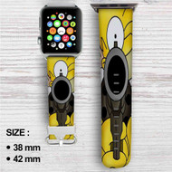 Homer The Simpsons Custom Apple Watch Band Leather Strap Wrist Band Replacement 38mm 42mm