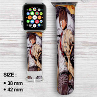 Light Yagami Death Note Custom Apple Watch Band Leather Strap Wrist Band Replacement 38mm 42mm