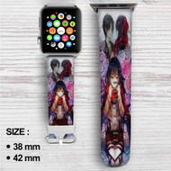 Mikasa Ackerman Eren Jaeger Shingeki no Kyojin Custom Apple Watch Band Leather Strap Wrist Band Replacement 38mm 42mm