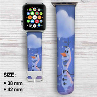 Olaf Disney Frozen Custom Apple Watch Band Leather Strap Wrist Band Replacement 38mm 42mm