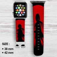 Red Moon Samurai X Rurouni Kenshin Custom Apple Watch Band Leather Strap Wrist Band Replacement 38mm 42mm