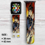 Roy Mustang Fullmetal Alchemist Brotherhood Custom Apple Watch Band Leather Strap Wrist Band Replacement 38mm 42mm