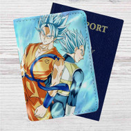 Dragon Ball Super Goku and Vegeta Super Saiyan Blue Custom Leather Passport Wallet Case Cover