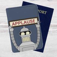 Futurama Bender Applause Custom Leather Passport Wallet Case Cover