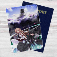 Kirito and Asuna Sword Art Online Game Custom Leather Passport Wallet Case Cover