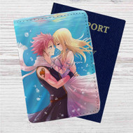 Natsu Dragneel and Lucy Heartfilia Kiss on Water Custom Leather Passport Wallet Case Cover