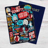 Rick and Morty Collage Quotes Custom Leather Passport Wallet Case Cover