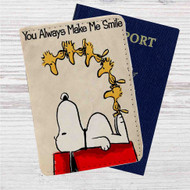 Snoopy Quotes You Alway Make Me Smile Custom Leather Passport Wallet Case Cover