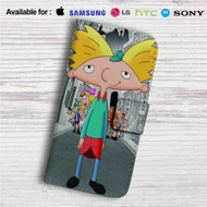 Hey Arnold Custom Leather Wallet iPhone 4/4S 5S/C 6/6S Plus 7  Samsung Galaxy S4 S5 S6 S7 Note 3 4 5  LG G2 G3 G4  Motorola Moto X X2 Nexus 6  Sony Z3 Z4 Mini  HTC ONE X M7 M8 M9 Case