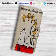 Snoopy Quotes You Alway Make Me Smile Custom Leather Wallet iPhone 4/4S 5S/C 6/6S Plus 7  Samsung Galaxy S4 S5 S6 S7 Note 3 4 5  LG G2 G3 G4  Motorola Moto X X2 Nexus 6  Sony Z3 Z4 Mini  HTC ONE X M7 M8 M9 Case