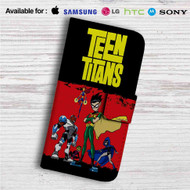 Teen Titans Characters Collage Custom Leather Wallet iPhone 4/4S 5S/C 6/6S Plus 7| Samsung Galaxy S4 S5 S6 S7 Note 3 4 5| LG G2 G3 G4| Motorola Moto X X2 Nexus 6| Sony Z3 Z4 Mini| HTC ONE X M7 M8 M9 Case