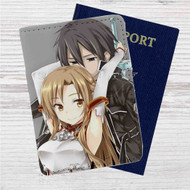Asuna x Kirito Sword Art Online Custom Leather Passport Wallet Case Cover