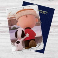 Friends Snoopy and Charlie Brown Custom Leather Passport Wallet Case Cover